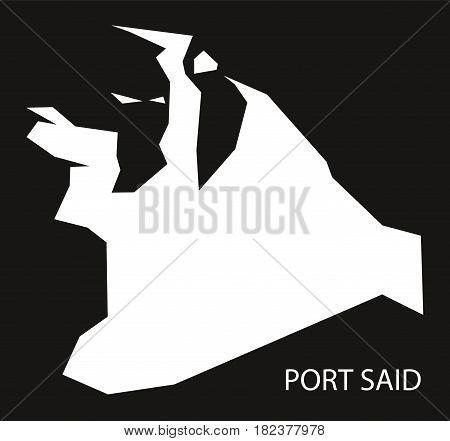 Port Said Egypt Map Black Inverted Silhouette Illustration