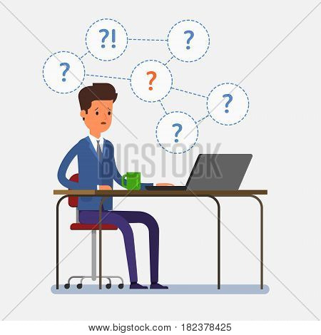 Concept of question. Thinking business man sitting under question marks. Flat design, vector illustration.