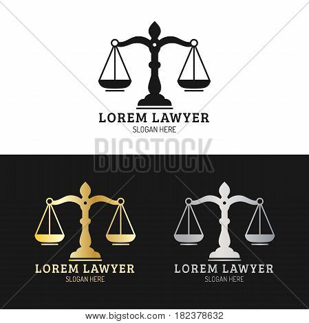 Law office logotypes set with scales of justice illustration. Vector vintage attorney, advocate labels, juridical firm badges collection. Act, principle, legal icons design.