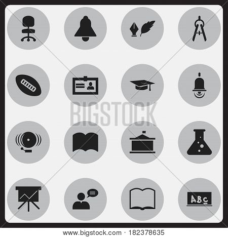 Set Of 16 Editable Science Icons. Includes Symbols Such As Certification, Chart Board, Alarm Bell And More. Can Be Used For Web, Mobile, UI And Infographic Design.