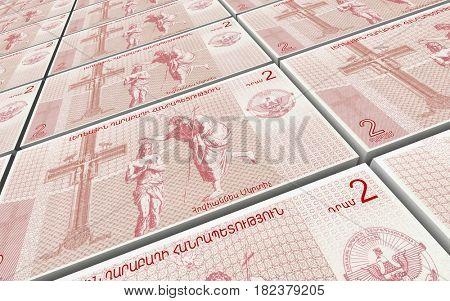 Nagorno karabakh dram bills stacked background. 3D illustration.