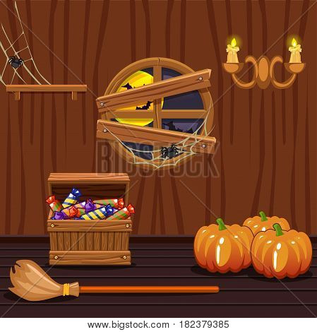 Wooden house cellar with a round window, illustration with halloween symbols