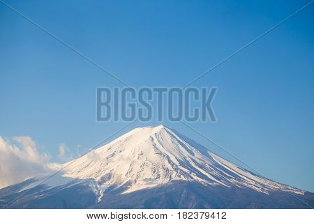 Mount Fuji San At Lake Kawaguchiko Close Up On Top View With Snow In Yamanashi Prefecture