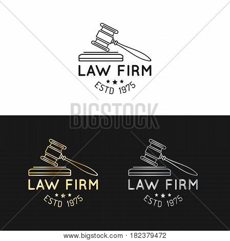 Law office logotypes set with gavel illustration. Vector vintage attorney, advocate labels, juridical firm badges collection. Act, principle, legal icons design.