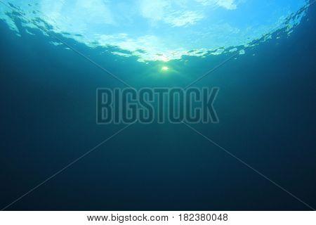 Sunlight underwater in blue ocean
