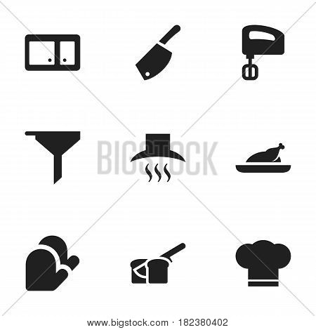 Set Of 9 Editable Cook Icons. Includes Symbols Such As Kitchen Glove, Backsword, Agitator And More. Can Be Used For Web, Mobile, UI And Infographic Design.