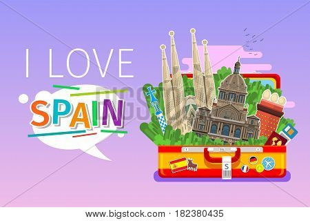Concept of travel to Spain or studying Spanish. Spanish landmarks in open suitcase. Flat design, vector illustration