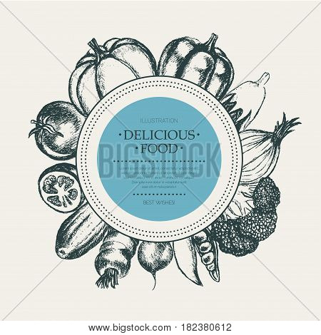 Vegetables - black and white vector hand drawn round banner with copyspace. Realistic broccoli, pumpkin, radish, onion, tomato, eggplant, pepper, cucumber, carrot, pea.