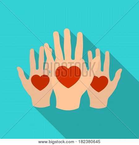 Hands up with hearts icon in flate design isolated on white background. Charity and donation symbol stock vector illustration.