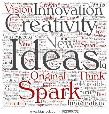 Concept or conceptual creative new ideas or brainstorming square word cloud isolated on background