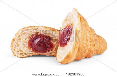 delicious croissant with cherry jam Dough, Butter, Bake, Dip, Traditionally, Crispy, Marmalade, Crescent, Sprinkled