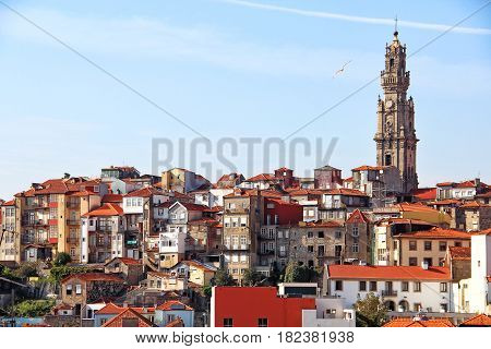 Clerigos church tower and Porto old town, Portugal