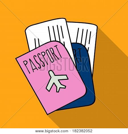 Passport icon in flat design isolated on white background. Family holiday symbol stock vector illustration.