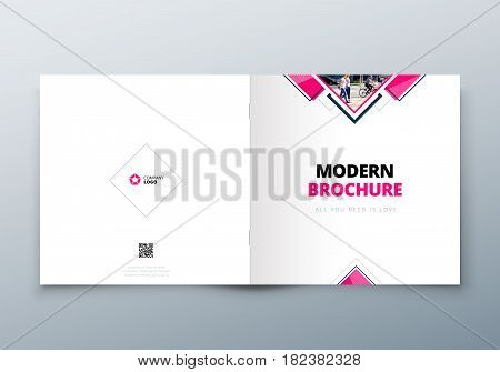 Square Brochure design. Corporate business template for rectangle brochure, report, catalog, magazine. Corporate Business Annual Report Cover, pink brochure or flyer design