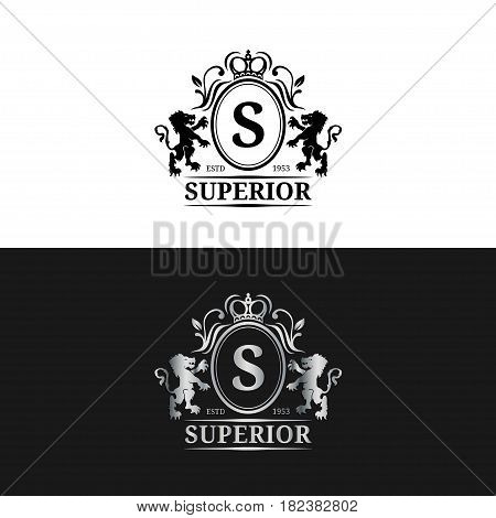Vector monogram logo template. Luxury letter design. Graceful vintage character with crown and lions illustration. Used for hotel, restaurant, boutique, jewellery invitation, business card etc.