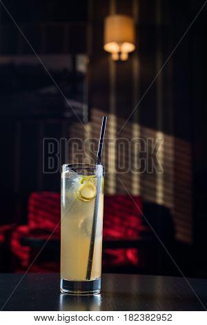 Mai Tai cocktail shot on a bar counter