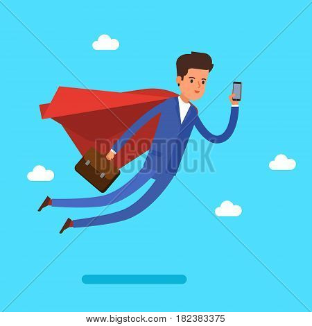 Super Businessman. Cartoon businessman is flying and looking at the phone. Flat design, vector illustration.