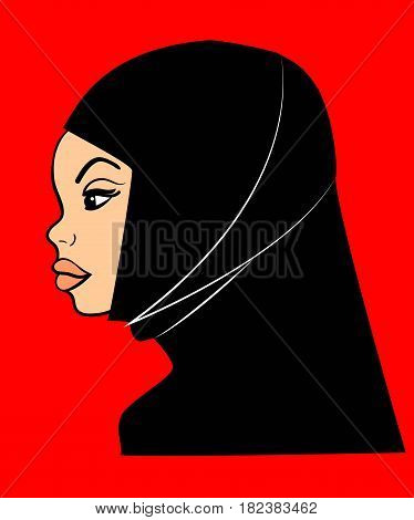 Image of an Arab Muslim sympathetic woman in black hijab in profile. Suited for avatar icon.