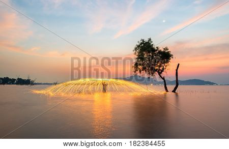 Showers of hot glowing sparks from spinning steel wool near the alone tree
