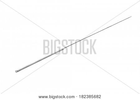 Needle for acupuncture on white background