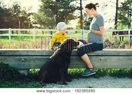 Pregnant mother and her son are walking with dog and spending time together on the nature park outdoors. Child boy looking at her mother pregnant tummy. Pregnancy family parenthood concepts.