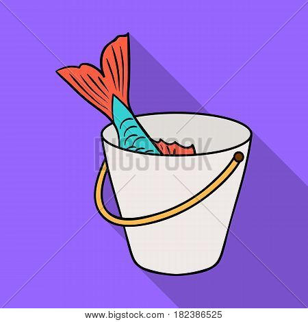 Fish in the bucket icon in flat design isolated on white background. Fishing symbol stock vector illustration.