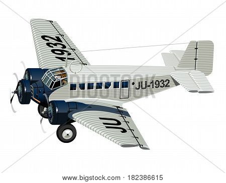 Vector Cartoon Retro Plane. Available EPS-10 vector format separated by groups and layers for easy edit