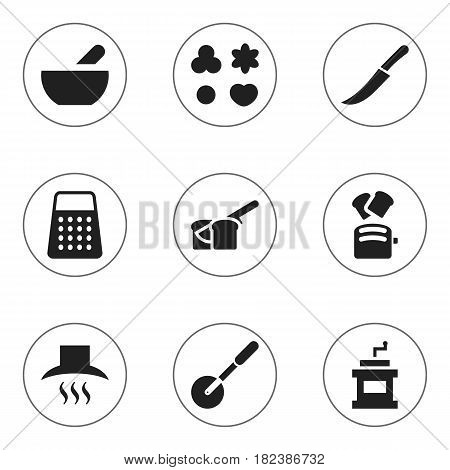 Set Of 9 Editable Food Icons. Includes Symbols Such As Bakery, Shortcake, Shredder And More. Can Be Used For Web, Mobile, UI And Infographic Design.
