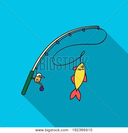 Fishing rod and fish icon in flat design isolated on white background. Fishing symbol stock vector illustration.