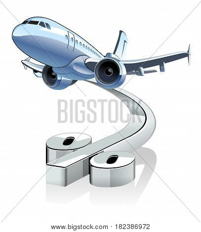 Vector Cartoon Airliner with discount percentage simbol.. Available EPS-10 vector format separated by groups and layers for easy edit