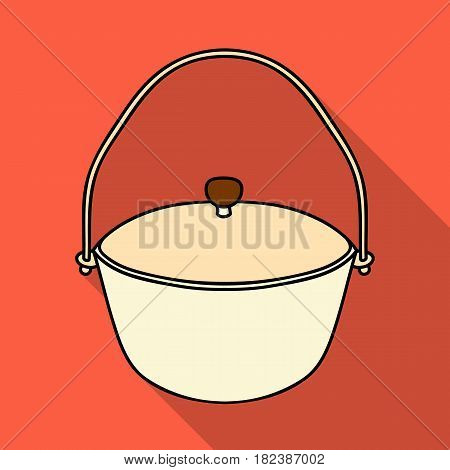 Camping pot icon in flat design isolated on white background. Fishing symbol stock vector illustration.