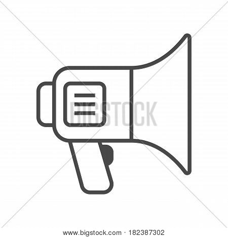 Advertisement promo action icon vector illustration isolated on white background. Social media marketing sign, advertising with megaphone linear pictogram.