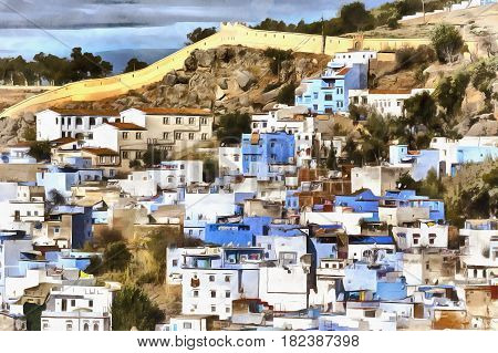 Colorful painting of old town of Chefchaouen Chaouen Morocco