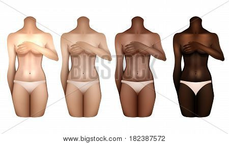 Girls with different skin colors covering their chests with hands. Woman bodies colledtion in white lingerie. Front view. Vector template for tattoo design isolated on white background