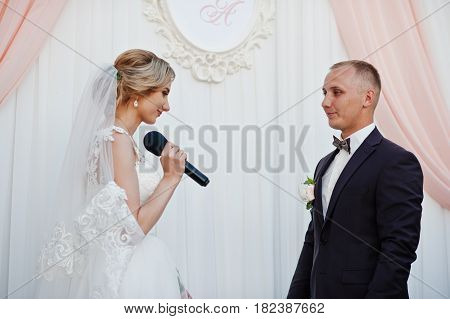 Bride Speech, Talking With Microphone For Her Groom At Wedding Ceremony.