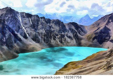 Colorful painting of Ala Kul mountain lake Kyrgyzstan
