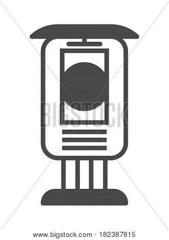 Vertical street billboard advertisement icon vector illustration isolated on white background. Social media marketing sign, visual advertising linear pictogram.