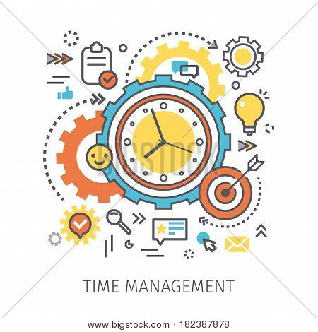 Concept of time management. Clock with gears and icons in the style of line art. Flat design, line art vector illustration