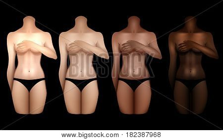 Girls with different skin colors covering their chests with hands. Woman bodies colledtion in black lingerie. Front view. Vector template for tattoo design isolated on black background
