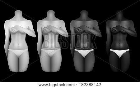 Girls with different skin colors covering their chests with hands. Woman bodies colledtion in white lingerie. Front view. Vector template for tattoo design isolated on blackbackground