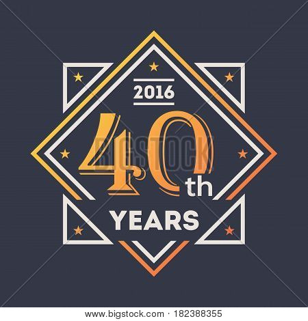 Anniversary design element, 40th years label isolated vector illustration. Birthday party logo, holiday festive celebration emblem with number years jubilee.