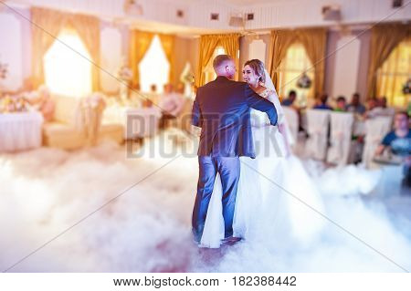 Amazing First Wedding Dance With Fog Smoke At Dancefloor And Various Lights.