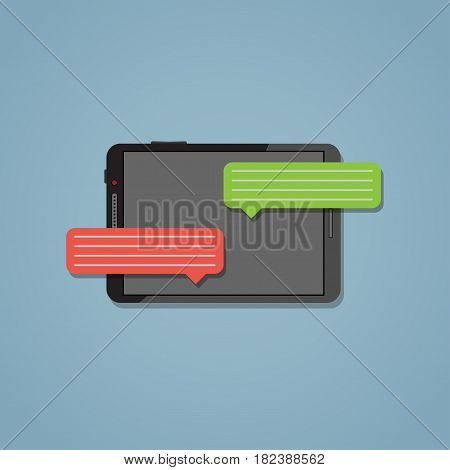 Tablet with fast text messages in the flat style. Text cloud. Messaging concept.