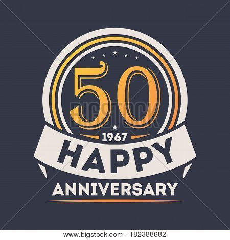 50th years happy anniversary celebration sign isolated vector illustration. Birthday party logo, holiday festive celebration emblem with number years jubilee.