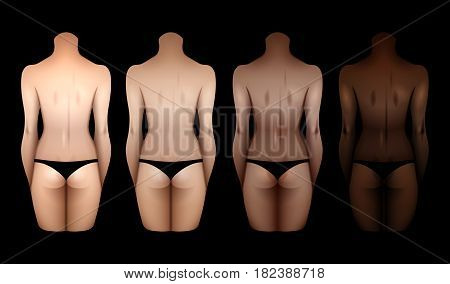 Women bodies with different skin colors in black lingerie. Back view. Vector template for tattoo design isolated on black background