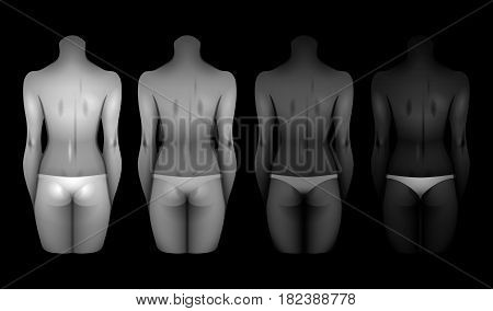 Women bodies with different skin colors in white lingerie. Back view. Vector template for tattoo design isolated on black background