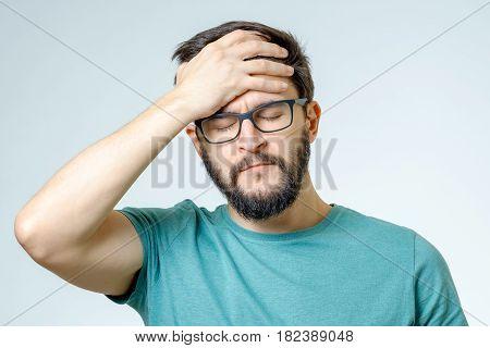 Depressed Handsome Bearded Man Touching Having A Headache