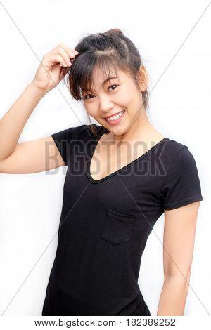 Portrait Of Asian Beautiful Women Smiling Funny