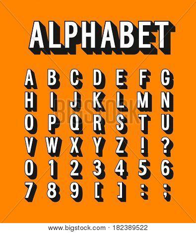 Retro alphabet with shadow effect. Vector illustration.