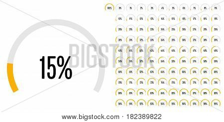 Set Of Circular Sector Percentage Diagrams From 0 To 100